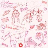 Doodles di AMORE Fotografia Stock