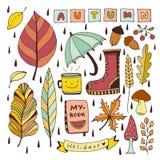 Doodles di autunno Elementi isolati per gli autoadesivi o le toppe Illustrazione di vettore di progettazione della cancelleria illustrazione di stock