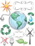Doodles di conservazione e di riciclaggio Immagini Stock