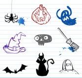 Doodles di Halloween Fotografie Stock Libere da Diritti