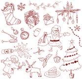 Doodles di natale Fotografie Stock