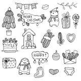 Doodles di natale Illustrazioni disegnate a mano di natale Icone nere del profilo del nuovo anno e di inverno Elementi di progett Fotografia Stock Libera da Diritti