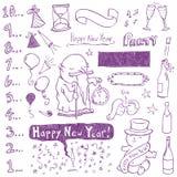 Doodles di nuovo anno Fotografie Stock