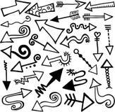 Doodles disegnati a mano della freccia Fotografia Stock