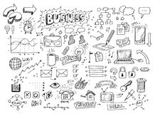 Doodles disegnati a mano di affari fotografia stock
