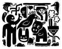 Doodles divertidos stock de ilustración