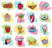 Doodles do alimento Foto de Stock