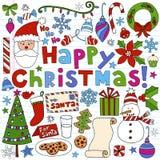 Doodles do caderno do Natal feliz ilustração royalty free