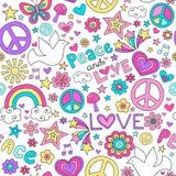 Doodles do caderno do teste padrão da pomba da paz e do amor