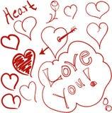 Doodles do coração Imagem de Stock