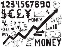 Doodles do dinheiro Imagem de Stock