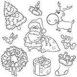 Doodles do Feliz Natal Foto de Stock