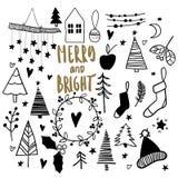 Doodles do Natal Ícones tirados mão do vetor Etiquetas scrapbooking do Xmas e do ano novo Árvore de Chrirstmas, festão, peúga Imagens de Stock