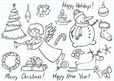 Doodles do Natal Foto de Stock Royalty Free