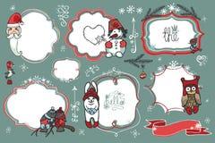 Doodles do Natal Crachás, etiquetas com Santa, animal, Fotografia de Stock