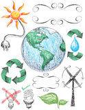 Doodles do recicl e da conservação Imagens de Stock
