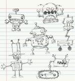 Doodles do robô Foto de Stock