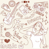 Doodles do vetor da música Fotografia de Stock Royalty Free