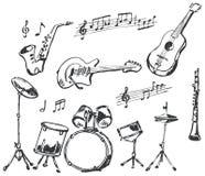 Doodles dos instrumentos musicais Foto de Stock