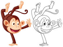 Doodles drafting animal for monkey flipping Royalty Free Stock Photo
