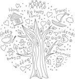 Doodles drzewa sen i cele ilustracja wektor