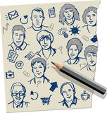 Doodles e penna da parte di documento Fotografia Stock