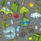 Doodles eco icon seamless Stock Photo
