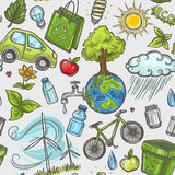 Doodles eco icon seamless Stock Photography
