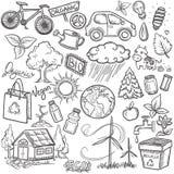 Doodles eco icon set. Doodles hand drawn eco icon set Stock Photos