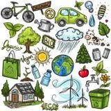 Doodles eco icon set. Hand drawn doodles eco icon set Royalty Free Stock Photography