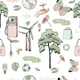 Doodles ecology and energy seamless pattern Royalty Free Stock Photos