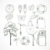Doodles ecology and environment icons set Stock Photography