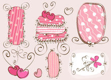 Doodles elements. Doodles frames and cake in pink Stock Photos