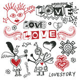Doodles engraçados do amor Fotografia de Stock Royalty Free