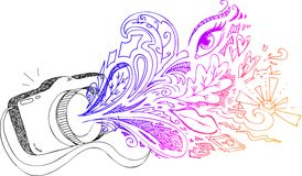 Doodles esboçado da câmera da foto Fotografia de Stock