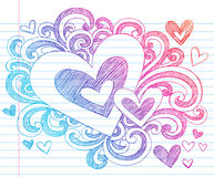 Doodles esboçado do amor do Valentim dos corações ilustração do vetor