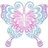 Doodles esboçado do caderno da borboleta Fotos de Stock