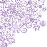 Doodles esboçado do caderno das flores e das videiras ilustração do vetor
