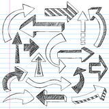 Doodles esboçado do caderno das setas Fotos de Stock
