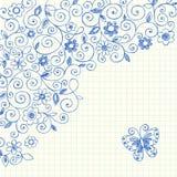 Doodles esboçado do caderno das videiras no papel de gráfico Foto de Stock Royalty Free
