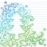 Doodles esboçado do caderno do sumário da árvore de Natal Imagem de Stock