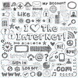 Doodles esboçado do computador do ícone do Web do Internet ajustados Imagens de Stock Royalty Free
