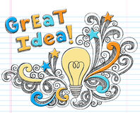Doodles esboçado Hand-Drawn da idéia da ampola Fotos de Stock