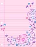 Doodles esboçado no vetor do papel do caderno ilustração stock