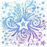 Doodles esboçado do caderno da estrela no papel alinhado Foto de Stock