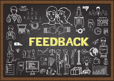 Doodles about feedback on chalkboard Royalty Free Stock Image