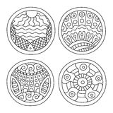 Doodles filled circles set. royalty free illustration