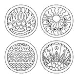 Doodles filled circles set. Royalty Free Stock Photo