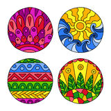 Doodles filled circles set. Stock Photo