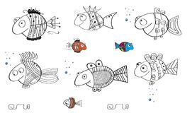 Doodles fish cartoon ocean swim tribe bubbles fun. Sea decor fins flaps tales eyes ornament shapes lines curves fauna Royalty Free Stock Image
